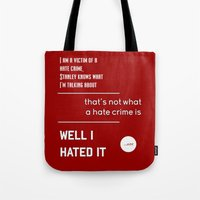 michael scott Tote Bags featuring Michael Scott on Hate Crimes (The Office) by thebuccanear