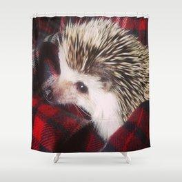 Juni Hedgehog Red Flannel Shower Curtain