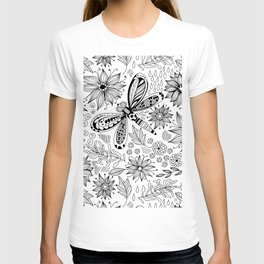 Dragonfly and flowers doodle T-shirt