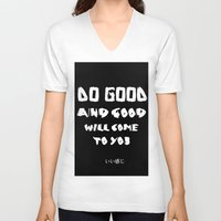 good vibes V-neck T-shirts featuring GOOD VIBES by hannamitchell