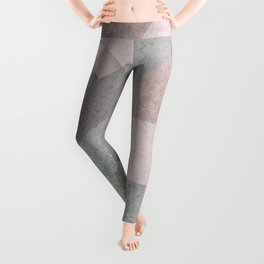 BLUSH GRAY AQUA GEOMETRICAL PATTERN Leggings