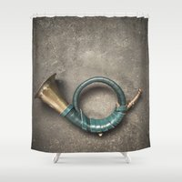 french Shower Curtains featuring French Horn by Maria Heyens
