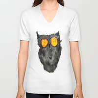 scary V-neck T-shirts featuring Scary owl by Bwiselizzy