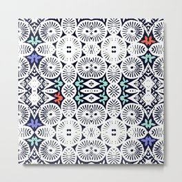fraternité: artisanal tribal in black & white Metal Print
