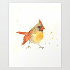 cardinal bird, lady cardinal, female cardinal, bird art, watercolor birds, bird paintings Art Print