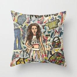 Nail Polish Painting Of Laura Marano Throw Pillow