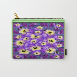 Purple Pansies Garden in  Green Jade Color Frame  Abstract Carry-All Pouch