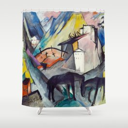 "Franz Marc ""The Unfortunate Land of Tyrol"" Shower Curtain"