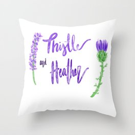 Thistle and Heather Throw Pillow