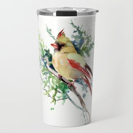 Cardinal Bird Artwork, female cardinal bird Travel Mug