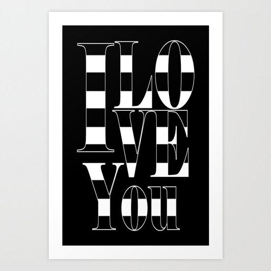 I love you - black Art Print
