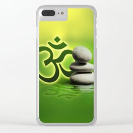 OM symbol  with zen stones on gentle green Clear iPhone Case