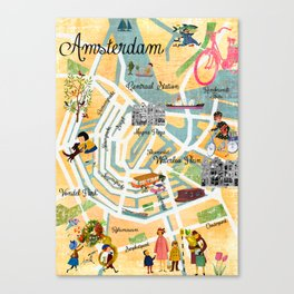 Vintage Amsterdam Map Collage poster print, wall art Canvas Print