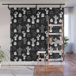 Black & White Cactus Doodle Pattern Wall Mural