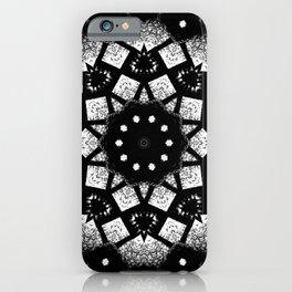 Black White Mosaic Kaleidoscope Mandala iPhone Case