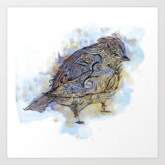 watercolor sparrow Art Print