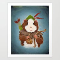 robin hood Art Prints featuring Guinea Pig Robin Hood by When Guinea Pigs Fly