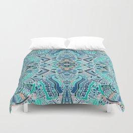 Tribal Bohemian Turquoise Blue Pattern Duvet Cover