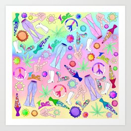 Psychedelic 70s Groovy Collage Pattern Art Print