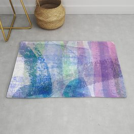 Afternoon by the Sea Abstract in Purple, Blue, Green, Pink Rug
