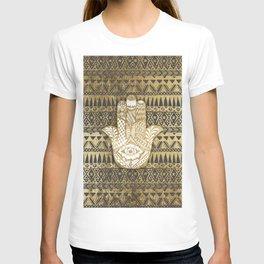 Faux Print Gold Hamsa Hand and Tribal Aztec T-shirt