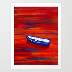 Little blue boat Art Print