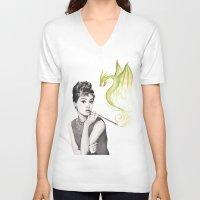 audrey hepburn V-neck T-shirts featuring Audrey Hepburn  by Olechka