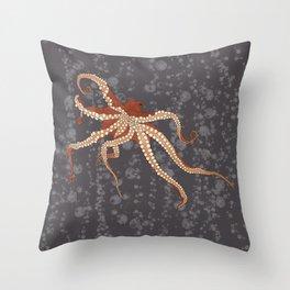 Rad Orange Octopus Throw Pillow