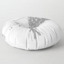 Little Skier - Grey Floor Pillow