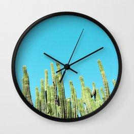 Desert Cactus Reaching for the Blue Sky Wall Clock