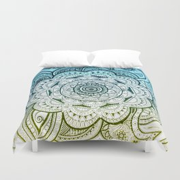 Mandala Blue Yellow Duvet Cover