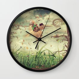 The little boy and brown pelican fly in the sky Wall Clock