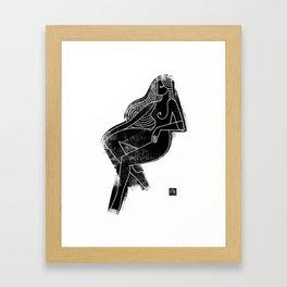 Seated Figure Black Framed Art Print