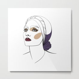 Woman in headscarf with smoky eyes. Abstract face. Fashion illustration Metal Print