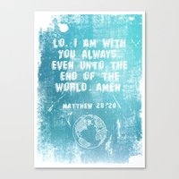 bible verses Canvas Prints featuring Typographic Motivational Bible Verses - Matthew 28:20 by The Wooden Tree