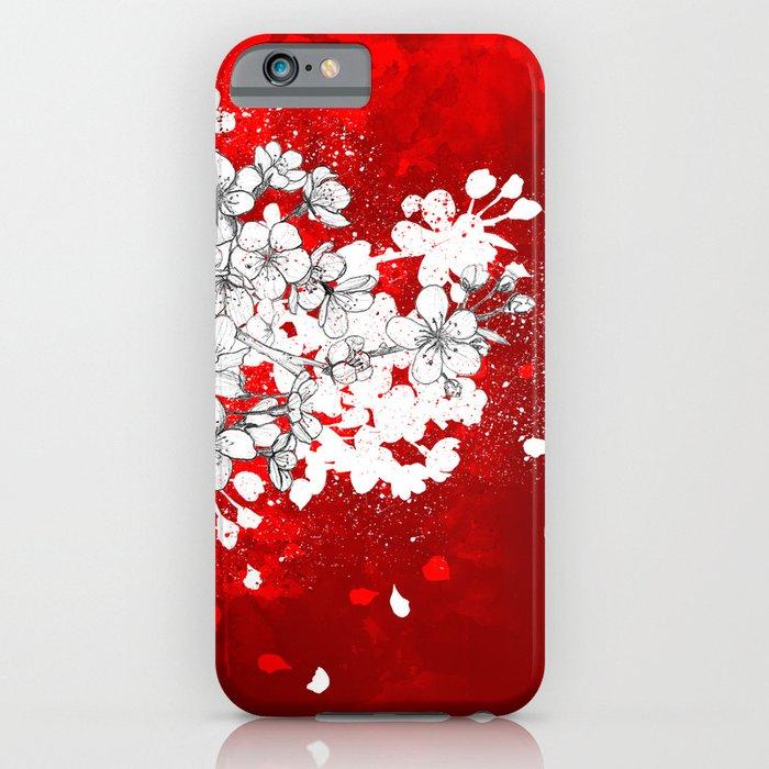Red skies and white sakuras iPhone Case