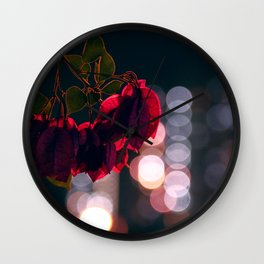 Night Lights And Flowers Wall Clock