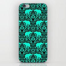 Elephant Damask Mint and Black iPhone & iPod Skin