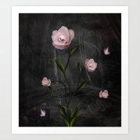 Surreal rose bush Art Print
