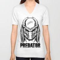 predator V-neck T-shirts featuring Predator by OneAppleInBox