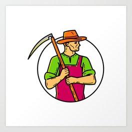 Organic Farmer Scythe Mono Line Art Art Print