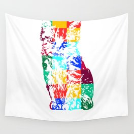 Colored Cat Wall Tapestry