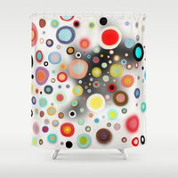 nursery Shower Curtains featuring Whimsical Nursery Happy Circles by Ruth Fitta Schulz