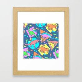 Nineties Dinosaur Pattern Framed Art Print