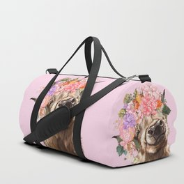 Highland Cow with Flowers Crown in Pink Duffle Bag