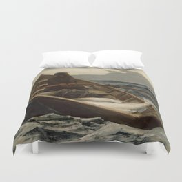 The Fog Warning / Halibut Fishing by Winslow Homer Duvet Cover