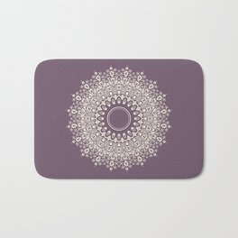 Mandala in Mulberry and White Bath Mat