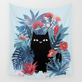 Popoki in Blue Wall Tapestry