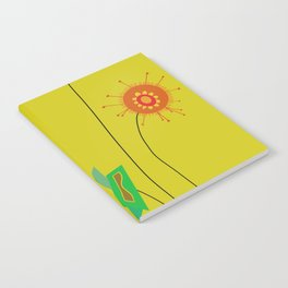Silly Space-Age Flowers Yellow Background Notebook