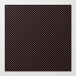 Black and Root Beer Polka Dots Canvas Print